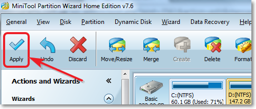 Partition Wizard - apply