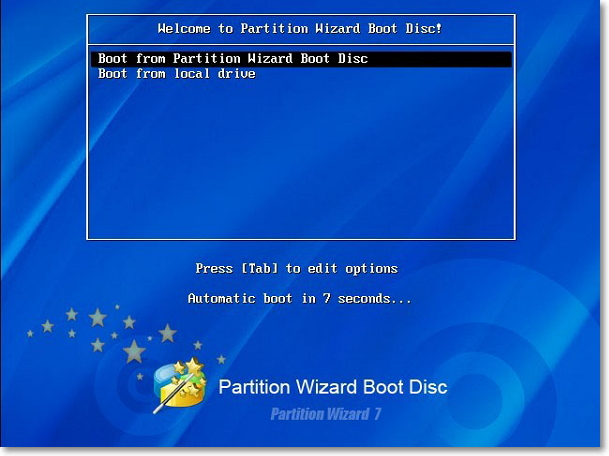 Partition Wizard Boot menu