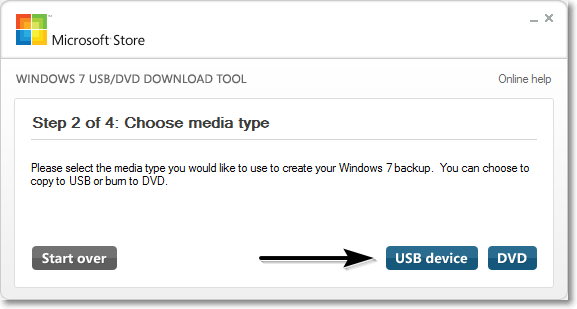 Windows download tool select device