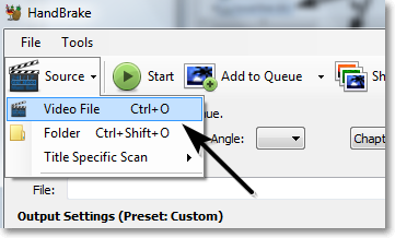 handbrake select video files